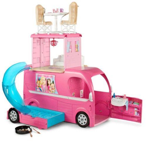 NEW!! Pink Barbie Pop Up Camper / Van RV Playset With Pool #Barbie