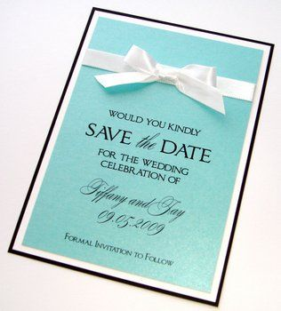 Wedding, White, Blue, Invitations, Black, The, Tiffany, Save