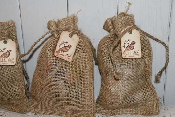 Burlap Bags Wedding Favor Bags with Tag  by GreenAcresCottage