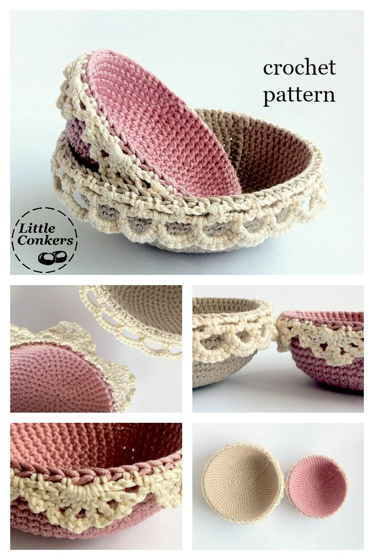 Crochet pattern for nesting bowls with lace trim by Little Conkers ☂ᙓᖇᗴᔕᗩ ᖇᙓᔕ☂ᙓᘐᘎᓮ http://www.pinterest.com/teretegui