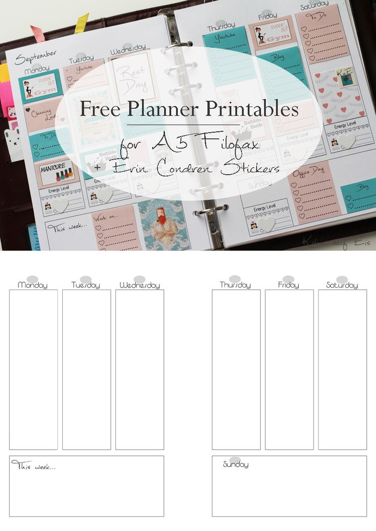 Free planner printable for A4 Filofax using Erin Condren Stickers by Kokiri auf Eis