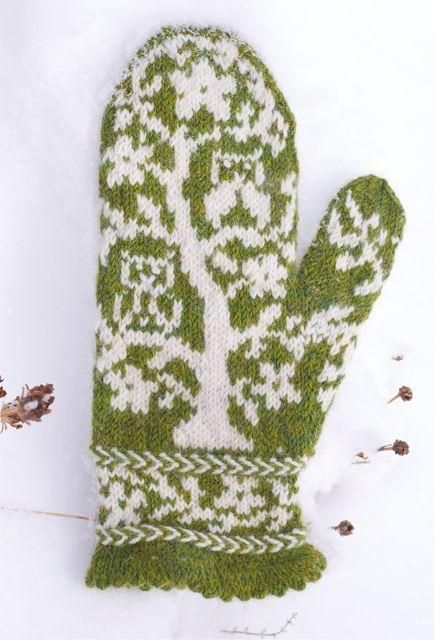 (6) Name: 'Knitting : Owls in a Tree Mittens