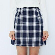 2017 Otoño Estilo Preppy A Cuadros Para Mujer Faldas Mujer de Cintura Alta Falda de La Cadera delgada Ocasional Mini Faldas Mujeres Carrera Falda de Una Línea S-XL(China)
