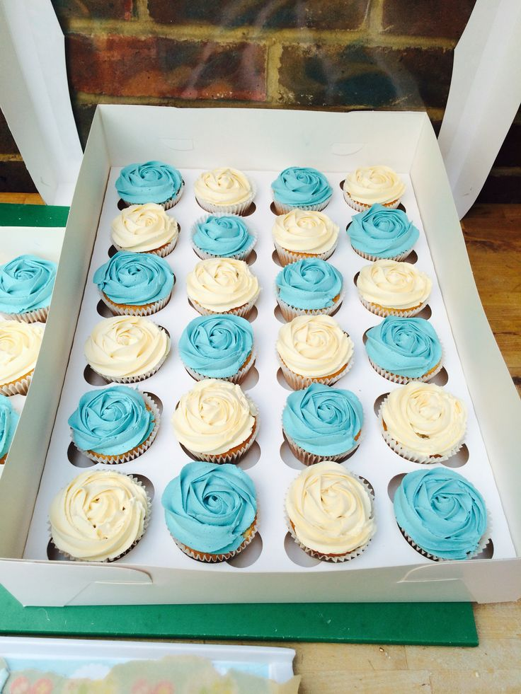 Blue And White Rosette Cupcakes Www Facebook Com