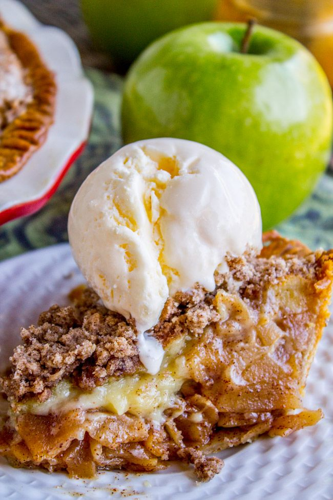 Apple Custard Pie with Cinnamon Streusel - The Food Charlatan