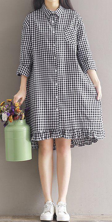 Women loose fit checkered dress ruffles hem dress tunic fashion large size chic
