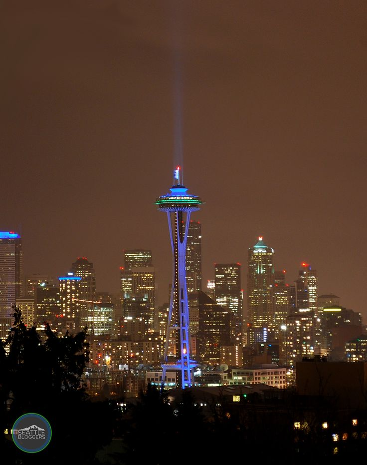 Space Needle celebrating Seattle Seahawks