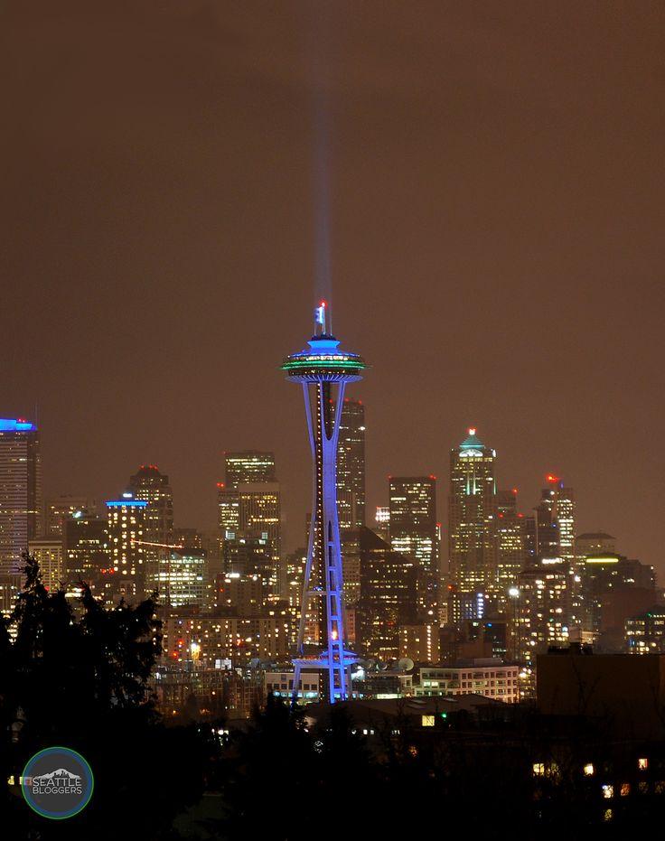 Space Needle celebrating Seattle Seahawks