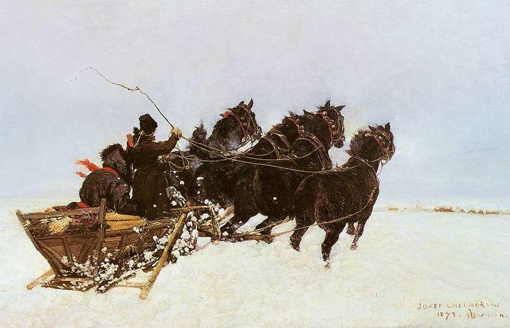 Jozef Chelmonski........Czwórka w zaspach   1873. Olej na płótnie. 123 x 89 cm.  Muzeum Polskie w Rapperswilu..