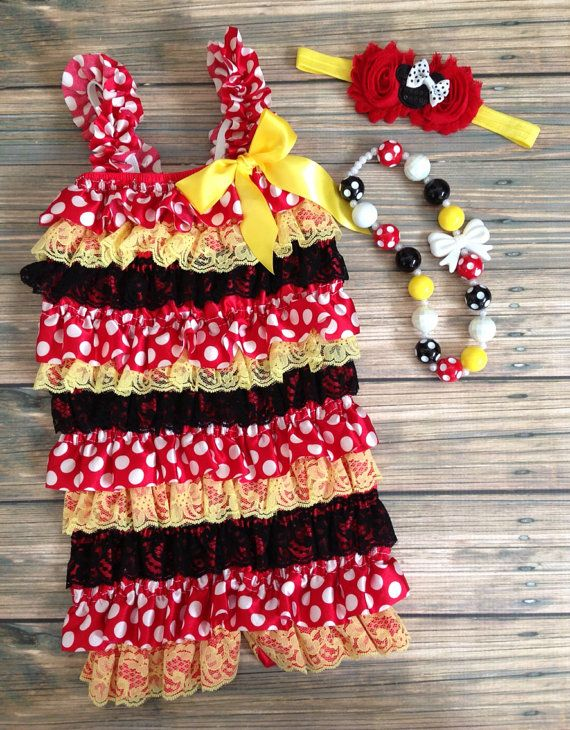 Minnie inspired Red Black and Yellow Satin and Lace by BabyTrendzz, $24.99