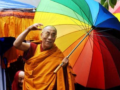 Master, Dalai Lama: Buddhism, Umbrellas, Dalai Lama, Colors, Parasol, People, Photo, Rainbow