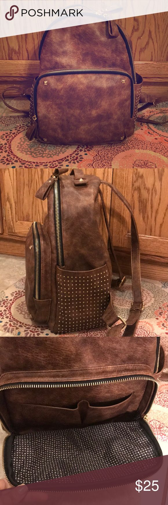 MMS Backpack Faux leather with gold detailing and studs. Full size backpack.  11in wide, 12in tall MMS Bags Backpacks