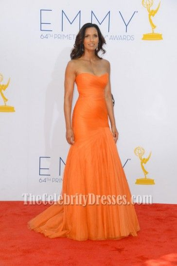 Padma Lakshmi Orange Formal Dress 2012 Emmy Awards Red Carpet - TheCelebrityDresses