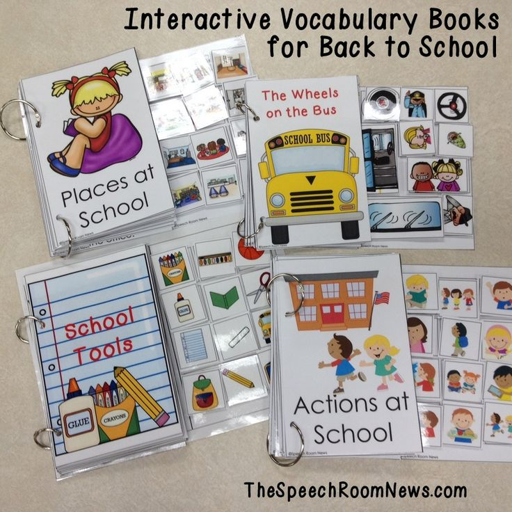 Interactive Vocabulary Books for Back to School. Love these interactive books that have the symbols easily accessible on the right side! Perfect for Sept! Speech Room News