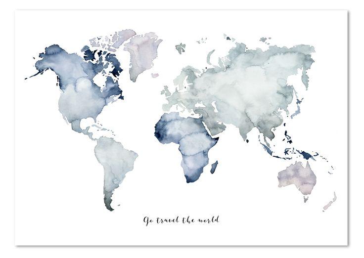 """Maße: DIN A3(29,7 x 42 cm)  Technik: """"Weltkarte – Go travel the world"""" istliebevollmit Aquarell-Farben illustriert & designed.  Material: DieKunstdrucke von Leo la …"""