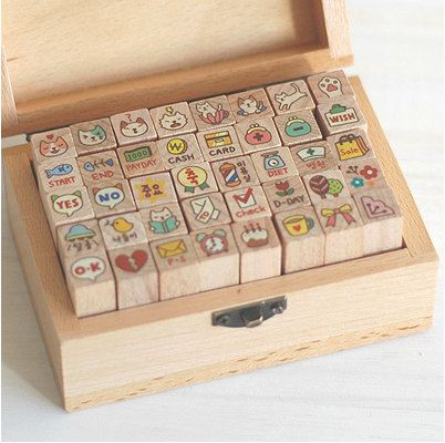 Kawaii cat diary stamp set by Harvard5f on Etsy, $21.90