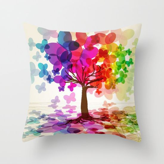 Throw pillow  COLORFUL TREEthrow pillow best design  #Mix cartoon #Mix cartoonthrowpillow #throwpillow #throwpillowcase #birthdaygift #Christmasgift #homedecoration #bedroomdecoration #society6