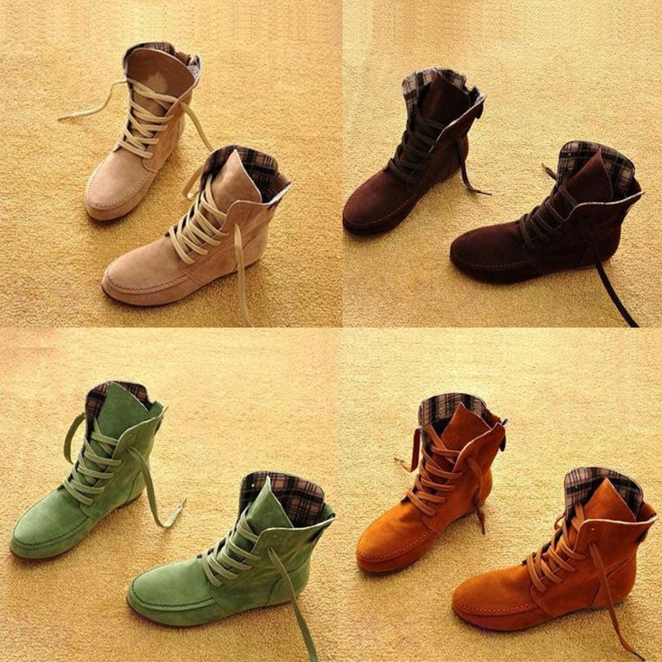 Women's Shoes Nubuck Leather Moccasins Ankle Boots Lace-Up High top US Size 5-9