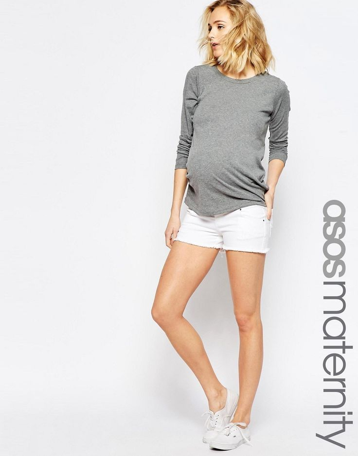 Image 1 of ASOS Maternity White Denim Shorts