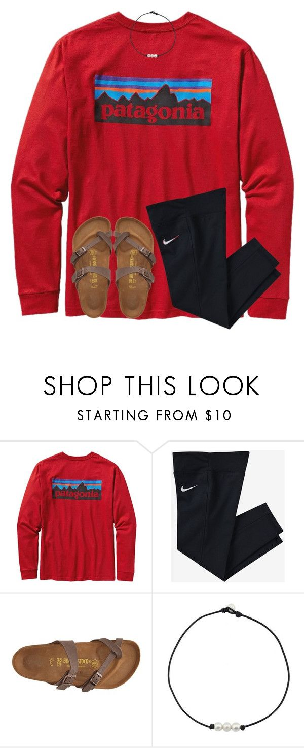 """""""leaving Hartselle, AL"""" by ponyboysgirlfriend ❤ liked on Polyvore featuring Patagonia, NIKE and Birkenstock"""