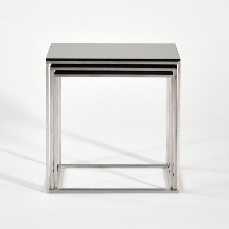 """Poul Kjærholm (1929-1980). """"PK-71"""". Set of three nesting tables with cube-shaped chromed steel frame, and black acrylic tops. Designed in 1957. Produced by Fritz Hansen. #PK71 #PoulKjærholm"""