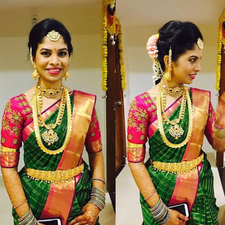 South Indian bride. Gold Indian bridal jewelry.Temple jewelry. Jhumkis.Green silk kanchipuram sari.Braid with fresh jasmine flowers. Tamil bride. Telugu bride. Kannada bride. Hindu bride. Malayalee bride.Kerala bride.South Indian wedding. Pinterest: @Deepa8