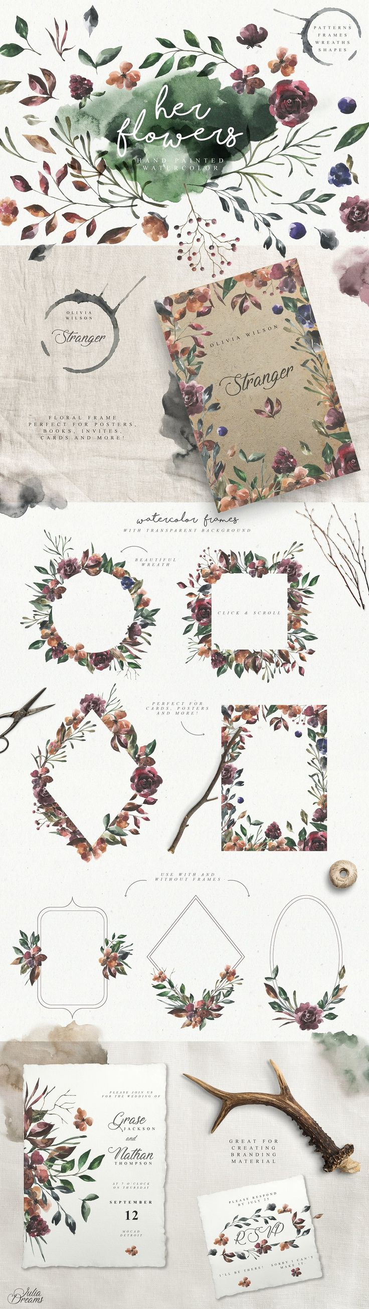 Her Flowers by Julia Dreams on @creativemarket #watercolor #flowers #wintery