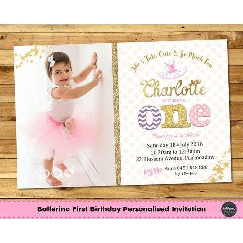 Tutu Cute 1st Birthday Pink and Gold Personalised Invitation - Printed http://www.lollipoppartysupplies.com.au/princess-1st-birthday-pink-and-gold-personalised-i