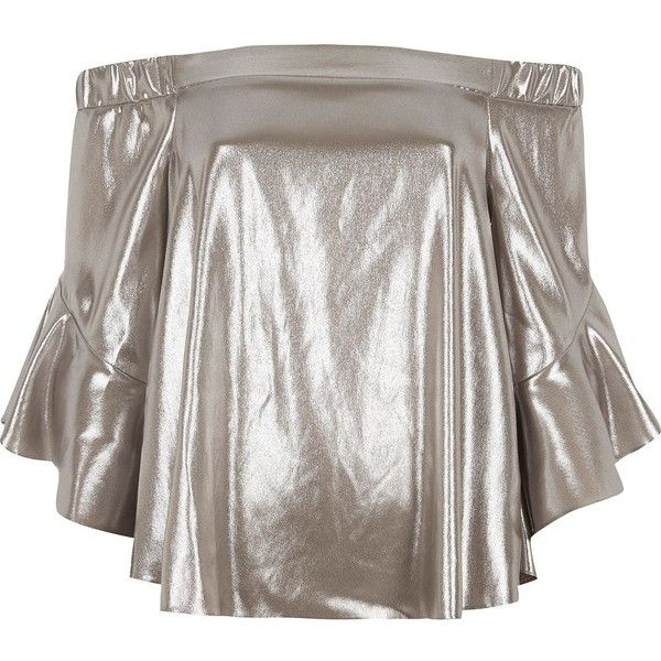 River Island Silver foil bardot bell sleeve top ($80) ❤ liked on Polyvore featuring tops, bardot / cold shoulder tops, silver, women, cut shoulder tops, open shoulder tops, white cold shoulder top, bell sleeve tops and 3/4 length sleeve tops