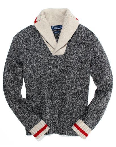 Polo Ralph Lauren's sock monkey shawl collar sweater. whimsical.