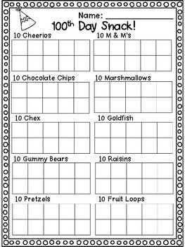 Free 100th Day Snack Sorting Mat 100th Day Of School