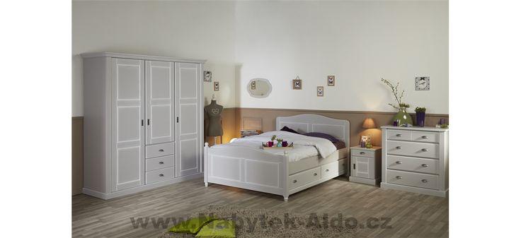 Bílá rustikální ložnice