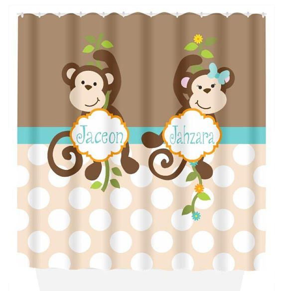 Monkey SHOWER CURTAIN Personalized Kid Bathroom