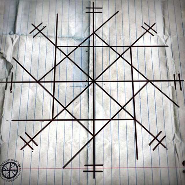 """Tingfinder"" - Helps to find lost objects. Sleep with the sigil under your head at night, and in dreams you'll see where the object you are looking for is hidden. //Ayuda a encontrar objetos perdidos. Ubicar bajo almohada para ver en sueños dónde está escondido lo que busca -- #sigils #sigil #pagan #heathen #asatru #witchcraft #magick"