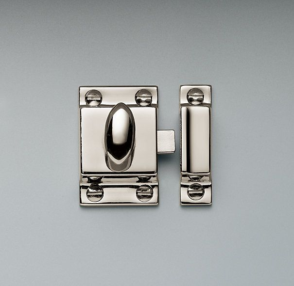 Restoration Hardware Utility Latches - stylish, earthquake protection for upper kitchen cabinets