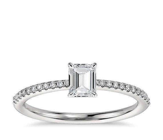 Platinum Micropave Emerald Cut 0.56ct D VS1 Diamond by WGJewellery