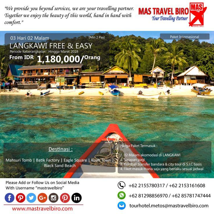 Paket tour ke LANGKAWI FREE & EASY  3 Hari 2 Malam, mulai dari harga Rp 1.180.000/Pax. Pesan sekarang di MAS Travel Biro   (Harga tidak termasuk tiket pesawat)   #mastravelbiro #promotravel #travelagent #tourtravel #tourtravelmurah #travelservices #tiketpesawat #travelindonesia #opentrip #familytour