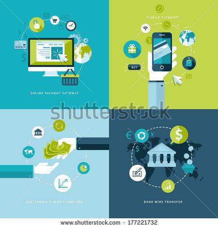 Flat design vector illustration concepts of online payment methods. Icons for online payment gataway, mobile payments, electronic funds tran...