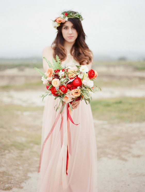 Blush and Poppy Wedding Inspiration - www.theperfectpalette.com - Color Ideas for Weddings + Parties