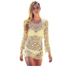Arco iris 2015 mujeres atractivas de señora Lace Crochet Hollow tapa Bikini Swimwear blanco beige Beach Dress envío gratis venta al por mayor E(China (Mainland))