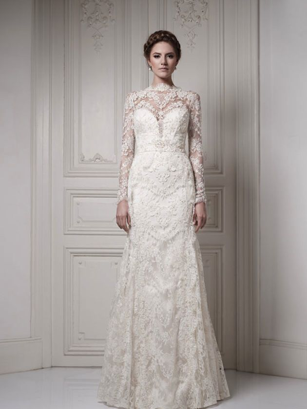 a 'wow' wedding dress with lace sleeves