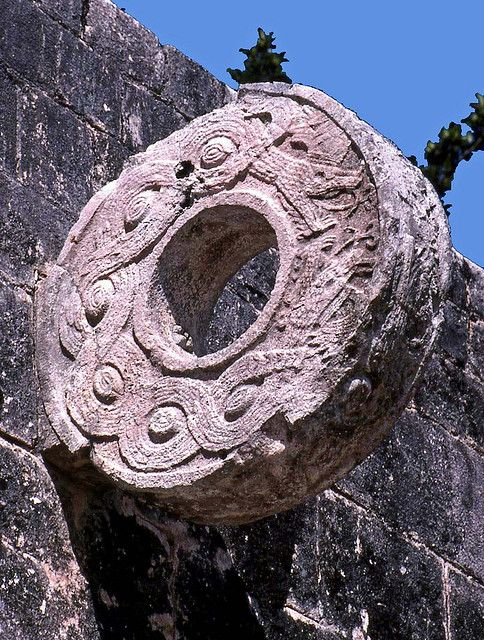 The Goal, Chichen Itza, Mexico. Part of an ancient sport. This goal is so high up along a hug stone wall.