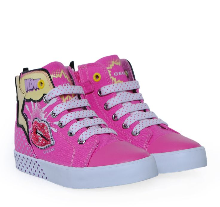 GEOX Fuxia Canvas High-cut Sneakers for Girls. Παιδικά κοριτσίστικα φούξια παπούτσια για κορίτσια.