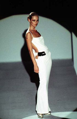 Tom Ford for Gucci Fall 1996: iconic white jersey gown worn by Kate Moss