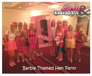Hen Party Themes These ladies really pulled off the Barbie theme perfectly. www.henpartyideas.ie