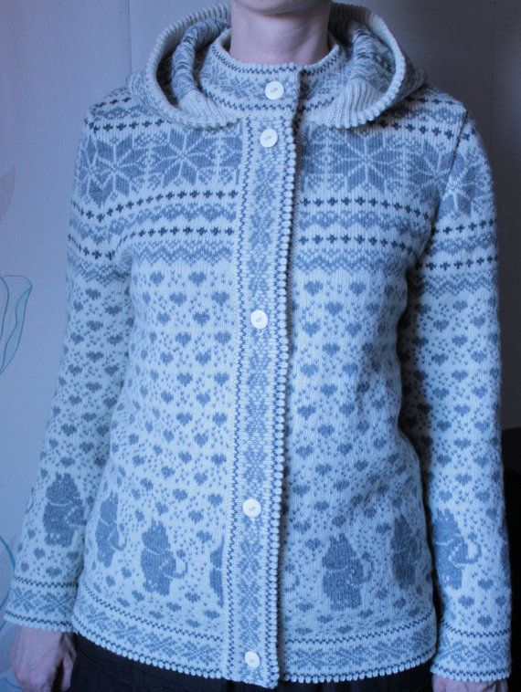 Sweater with hood for adult and moomin pattern by LanaNere on Etsy