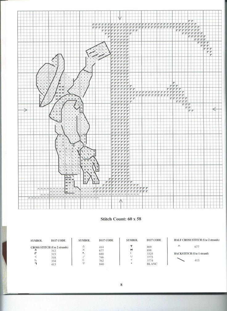 Schema punto croce Alfabeto Bimbi F