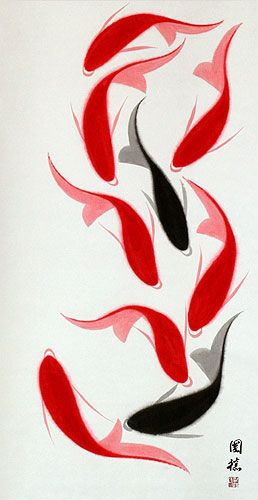 """Large Koi Fish Wall Scroll by Ou-Yang Guo-De. Koi are associated strongly with Japanese & Chinese cultures. Beautiful garden parks in cities around China are graced with a pond full of koi all year. They are very strong fish & can be seen swimming slowly under thick sheets of ice in lakes during the brutal Winter of northern China. In Mandarin """"fish"""" is pronounced """"Yu"""" the same pronunciation as """"wealth"""" or """"abundance."""" Many believe having a painting of fish in your home will bring you…"""