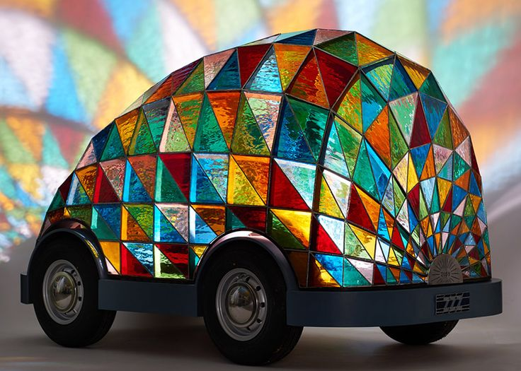 """Dominic Wilcox's """"future"""" car is driverless and made of stained glass."""