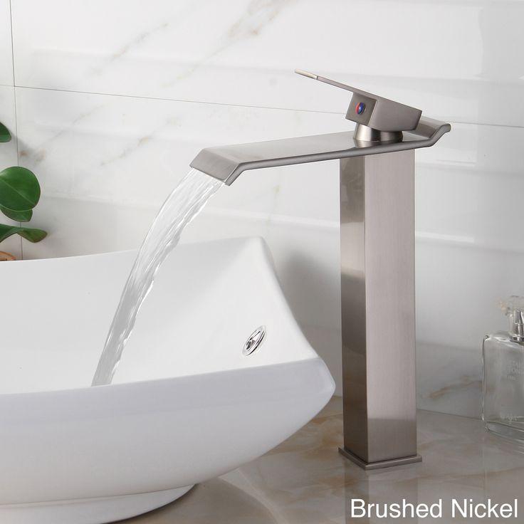 brushed nickel bathroom faucet elite singlelever waterfall vessel sink faucet overstock